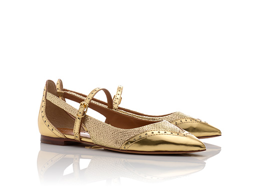 Tory Burch Gold Flat Shoes